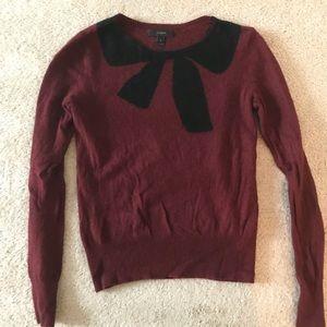 Burgundy J Crew Sweater with Navy Bow!